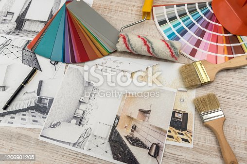 Interior design concept - apartment sketch with color palette and tools