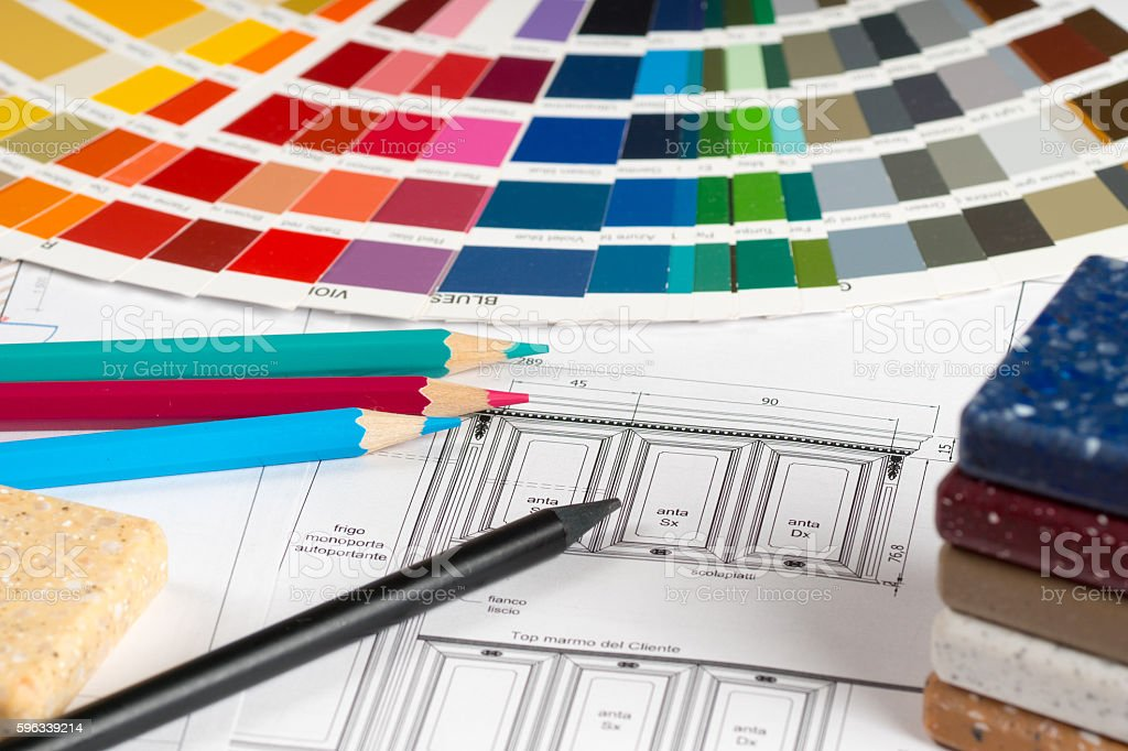 interior design concept, kitchen sketch color choose and pencils royalty-free stock photo