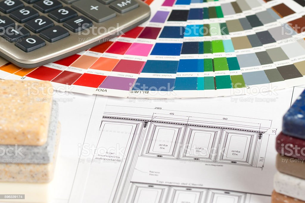 interior design concept, kitchen sketch color guide royalty-free stock photo