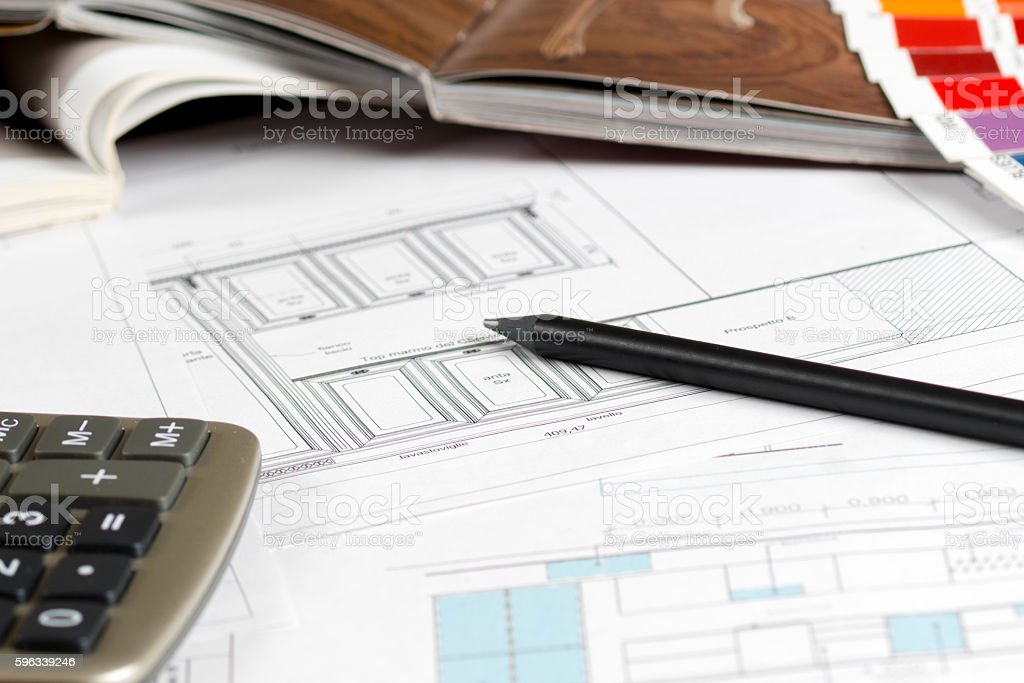 interior design concept, kitchen sketch furniture catalog royalty-free stock photo