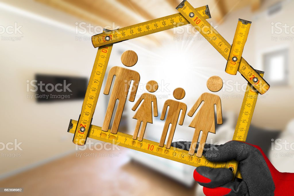 Interior Design Concept - Ruler with Family Lizenzfreies stock-foto