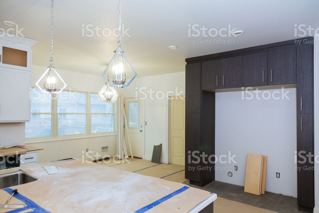 Interior design construction of a kitchen with stock photo