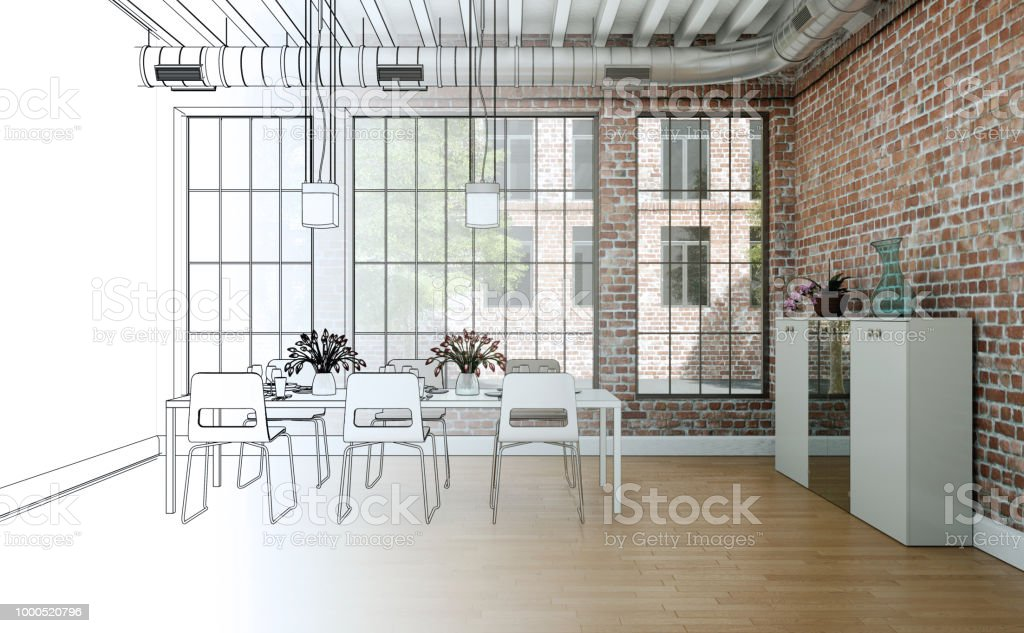 Interior Design Dining Room Drawing Gradation Into Photograph Stock