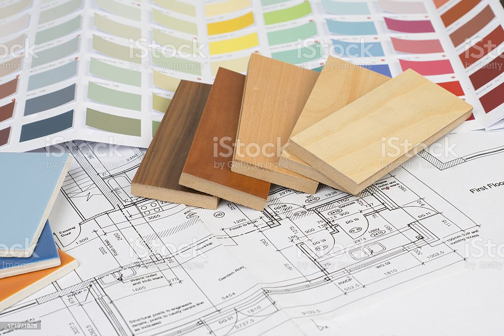 Interior design flooring tiles and color scheme choices royalty-free stock photo
