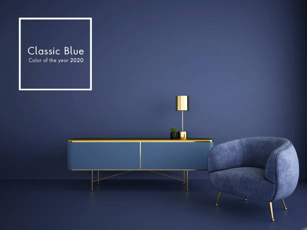 interior design for classic blue color trend 2020,3d rendering,3d illustration interior design for classic blue color trend 2020,3d rendering,3d illustration toned image stock pictures, royalty-free photos & images