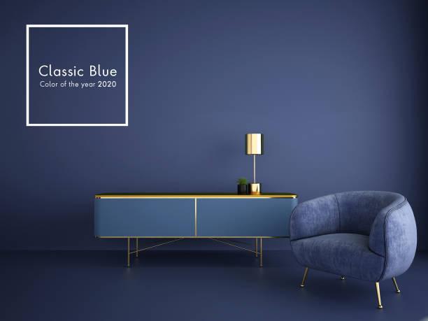 interieur ontwerp voor klassieke blauwe kleur trend 2020, 3d-rendering, 3d-illustratie - kleurtoon stockfoto's en -beelden