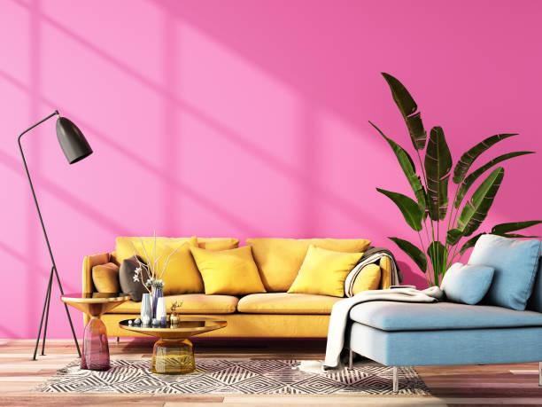 projeto interior para a tendência 2020 da cor, rendição 3d, ilustração 3d - rosa cor - fotografias e filmes do acervo