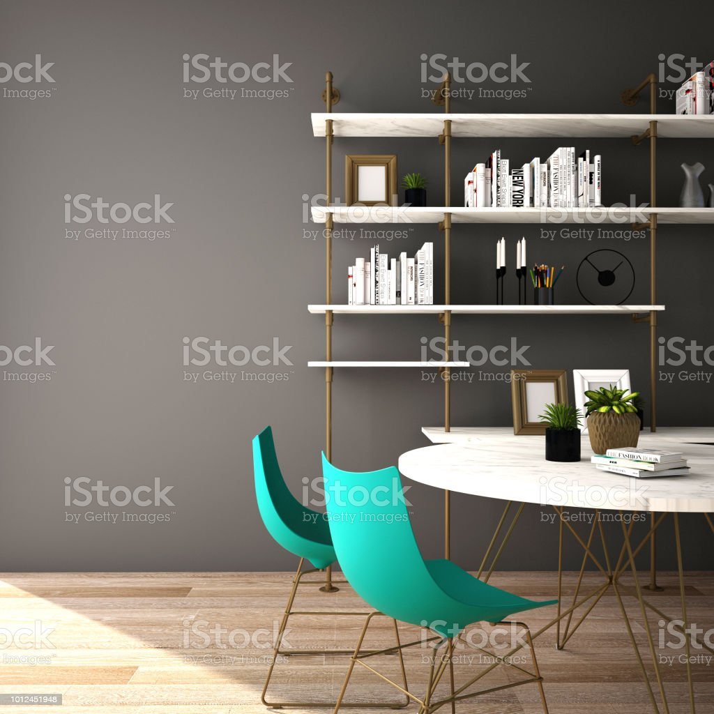 Interior Design For Dining Area In Modern Style With Plant Chair Table And Many Props On Wood Floor And White Wall 3d Rendering3d Illustration Stock Photo Download Image Now Istock