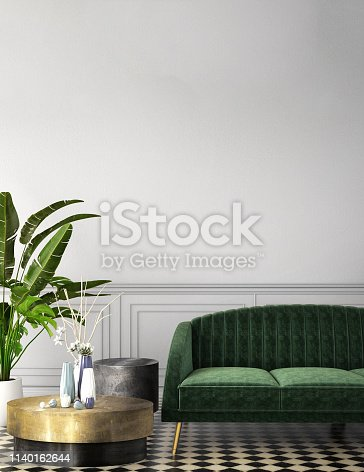 interior design for living area or reception with armchair,plant,on wooden floor and classic wall background / 3d illustration,3d rende
