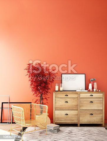 1136239089istockphoto interior design for living area or reception with sofa,plant,sidetable,props on wood floor and white and black in Scandinavian style background  / 3d illustration,3d rendering 1083672136