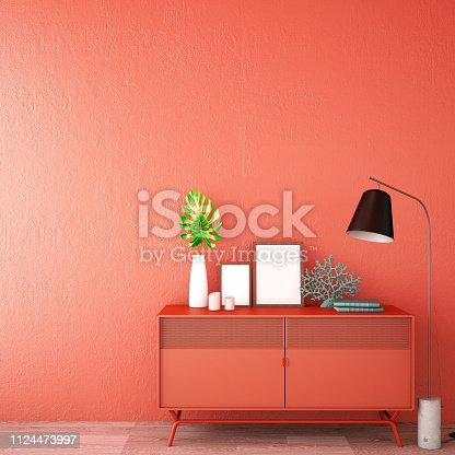 interior design for living area or reception with sofa,plant,sidetable,props on wood floor and coral wall in Scandinavian style background / 3d illustration,3d rendering