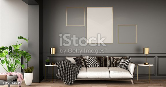 1136239089istockphoto interior design for living area or reception with sofa ,armchair,plant,cabinet on wooden floor background / 3d illustration,3d rendering 1127914605