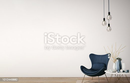 interior design for reception area in modern style with plant , chair ,table and many props on wood floor and white wall /3d rendering/3d illustration