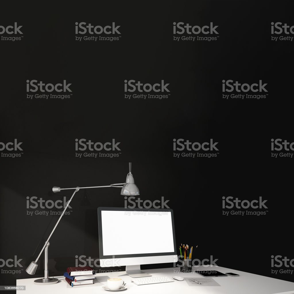 interior design for working area with Destop computer screen on white...