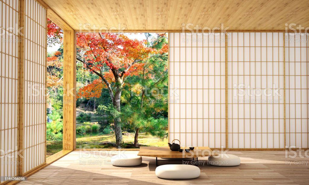 interior design in modern living room with wood floor and  white wall that was designed in japanese style,3d illustration,3d rendering - Royalty-free Architecture Stock Photo