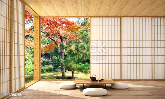 istock interior design in modern living room with wood floor and  white wall that was designed in japanese style,3d illustration,3d rendering 1144268258