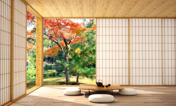 inredning i moderna vardags rum med trä golv och vit vägg som är designad i japansk stil, 3d illustration, 3d-rendering - japan bildbanksfoton och bilder