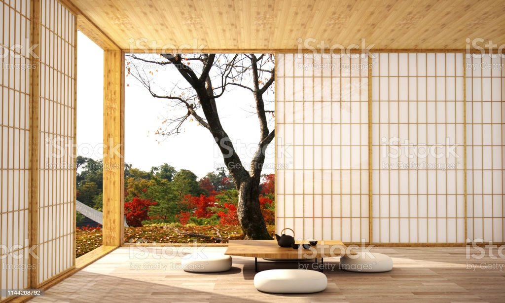 interior design in modern living room with wood floor and  white wall that was designed in japanese style,3d illustration,3d rendering interior design in modern living room with wood floor and  white wall that was designed in japanese style,3d illustration,3d rendering Architecture Stock Photo