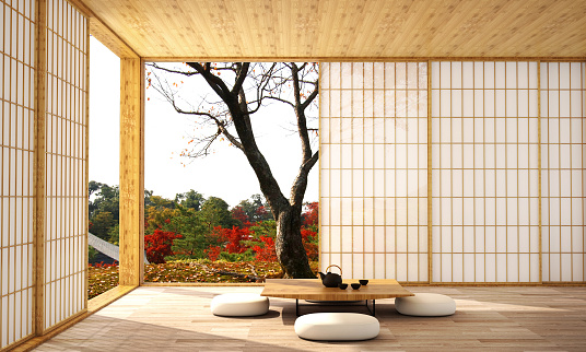Interior Design In Modern Living Room With Wood Floor And White Wall That Was Designed In Japanese Style3d Illustration3d Rendering Stock Photo - Download Image Now