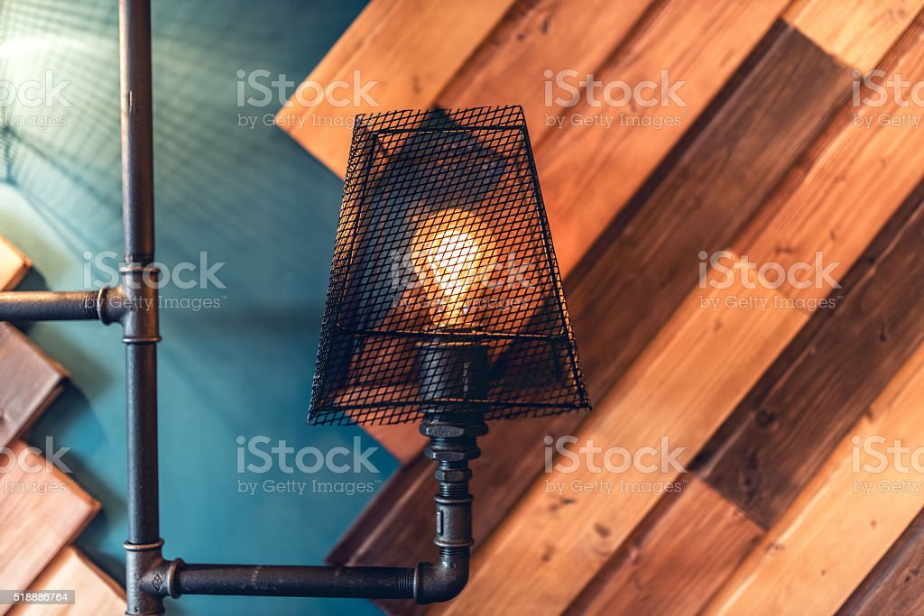 interior design lamps, living room space with walls and details stock photo