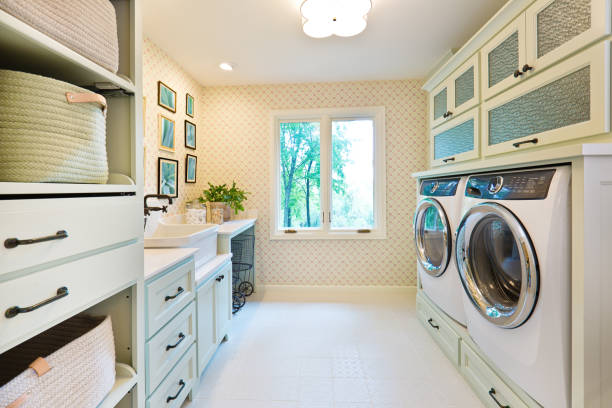 Interior Design Laundry Utility Room of Residential Home stock photo