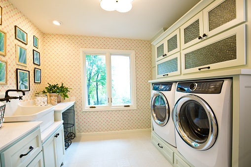 Interior Design Laundry Utility Room of Residential Home