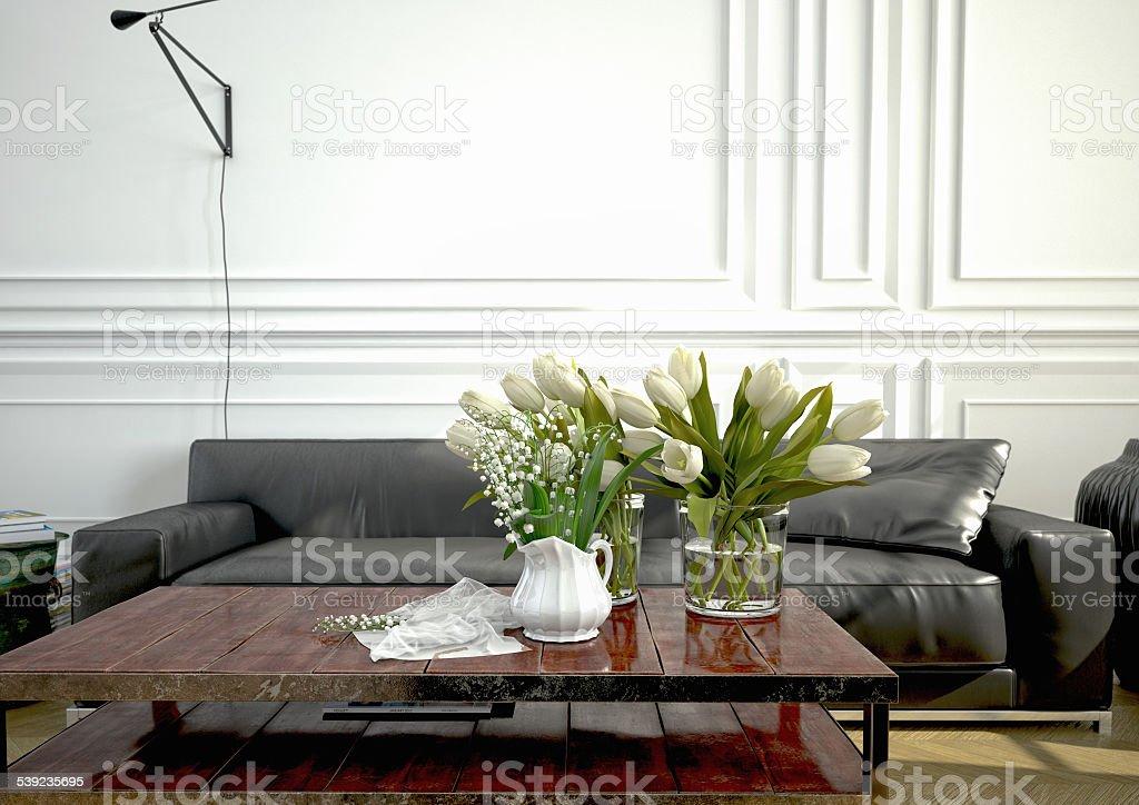 Interior Design, Living room. 3d rendering royalty-free stock photo