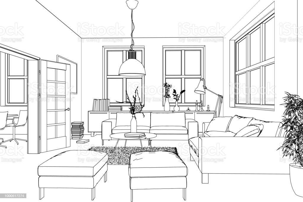 Interior Design Living Room Custom Drawing Stock Photo