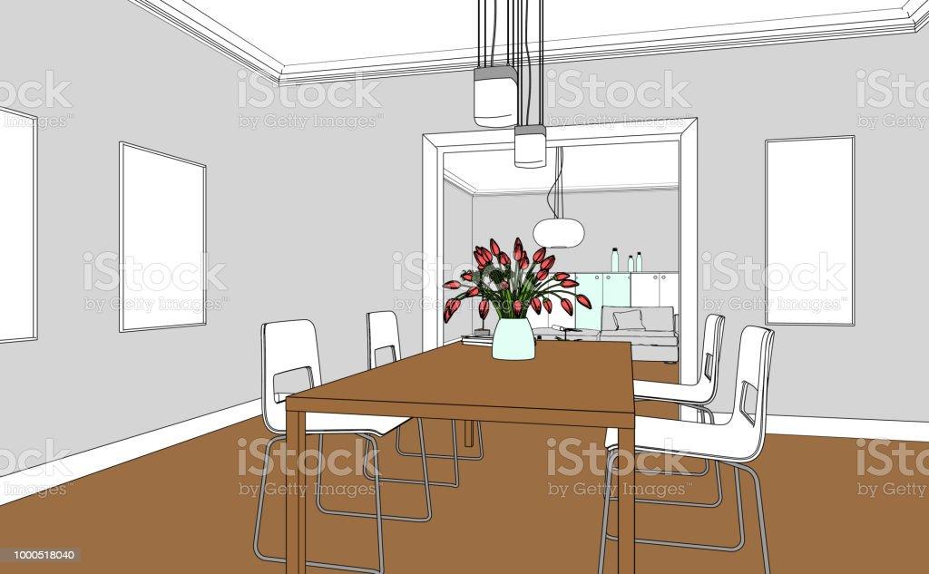 Dibujo Personalizado De Diseño De Interiores Living Comedor Foto de ...