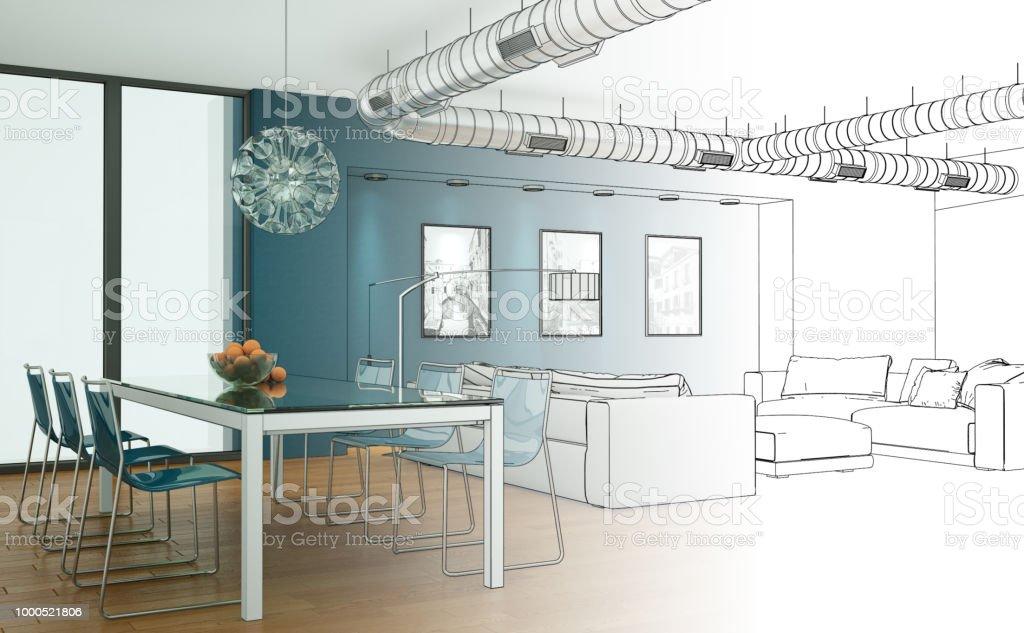 Interior Design Living Room Drawing Gradation Into Photograph Royalty Free Stock Photo