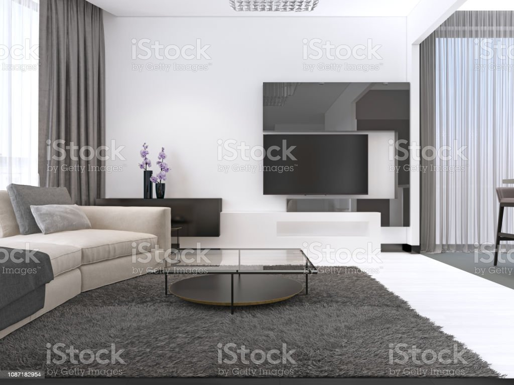 Interior Design Living Room With A Large Corner Sofa And A Tv Unit ...