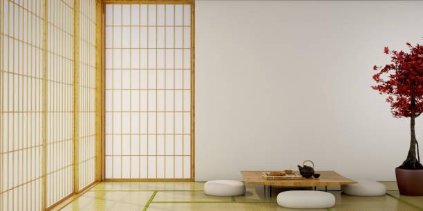 インテリアデザイン、テーブル付きリビングルーム、ウッドフロア、畳敷き、日本の伝統的なドアは、日本式、3d イラストレーション、3d レンダリングに特化して設計されています。 - 畳 ストックフォトと画像