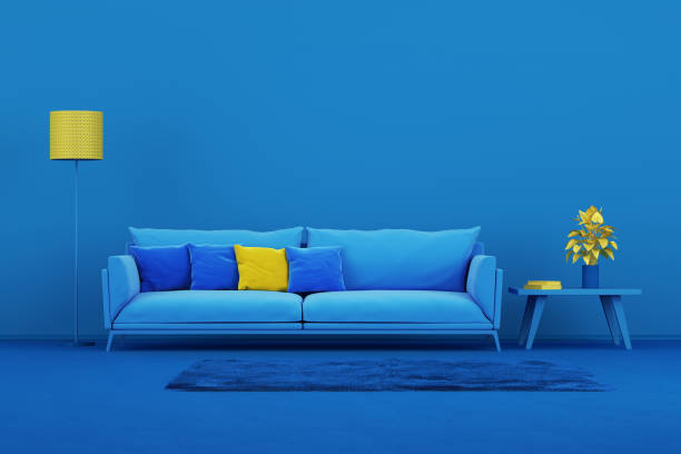 Interior design minimal style concept Blue modern sofa in blue living room toned image stock pictures, royalty-free photos & images