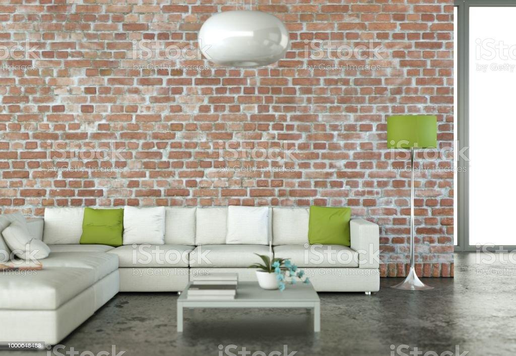 Interior design modern bright room with white sofa 3d Illustration