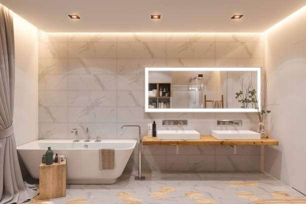 innenarchitektur eines badezimmers, 3d-illustration im skandinavischen stil - badezimmer wand stock-fotos und bilder