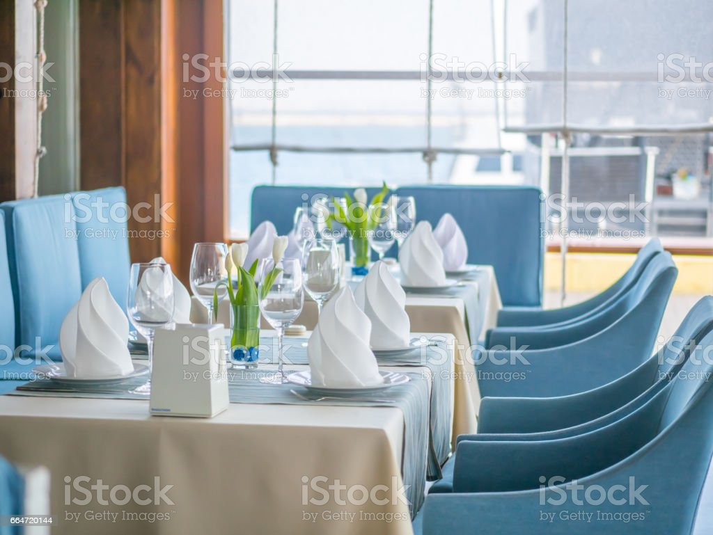Interior design of a beautiful restaurant in a marine style stock photo