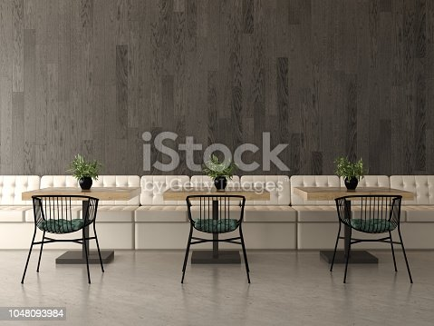 Interior design of a coffee shop, cafe. 3 D rendering
