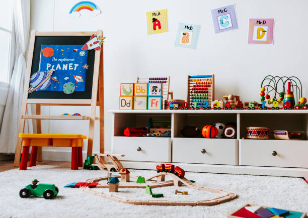 Interior design of a kindergarten classroom stock photo