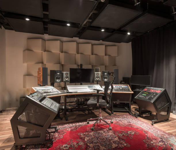 Interior design of empty recording studio with equipment stock photo