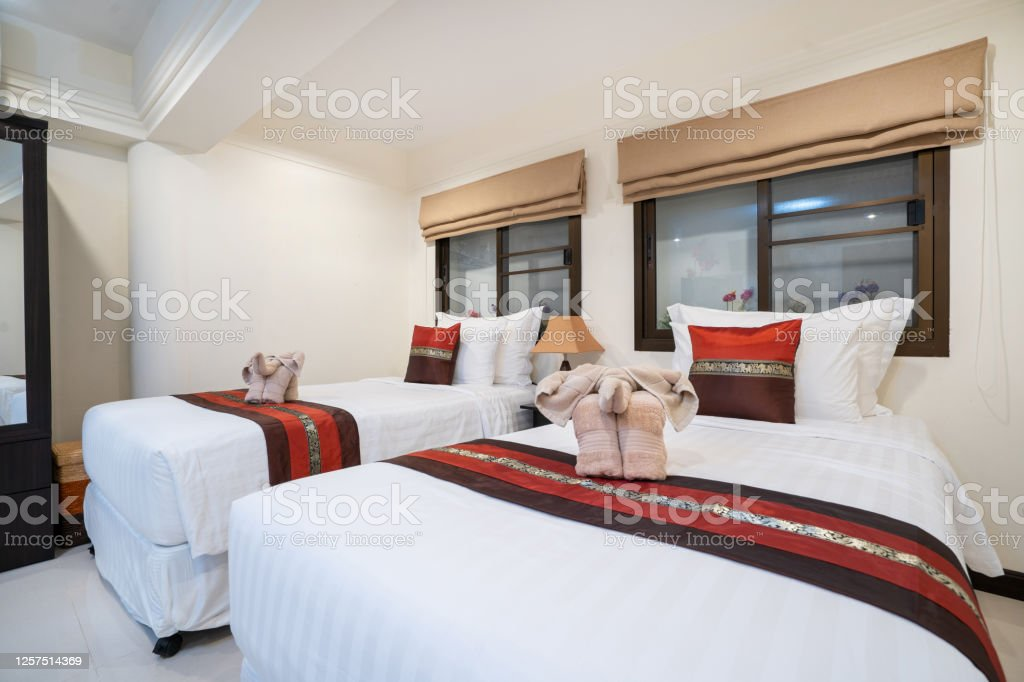 Interior Design Of House Home Condo And Villa Feature Double Bed Red Bed Runner And Dressing Table In Bedroom Stock Photo Download Image Now Istock