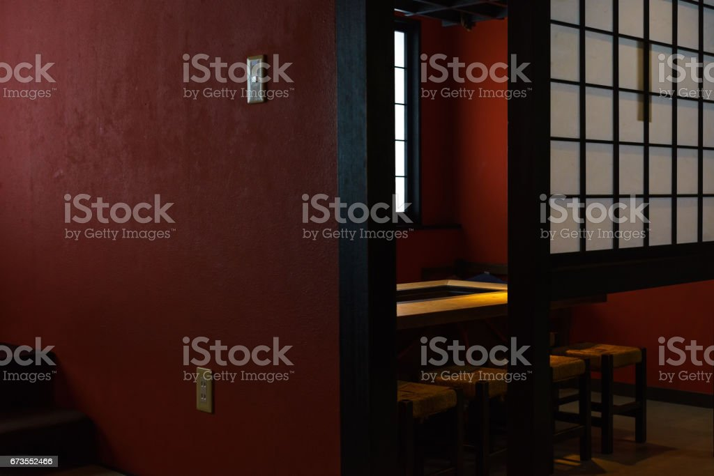 Interior design of Japanese restaurant with red and yellow royalty-free stock photo