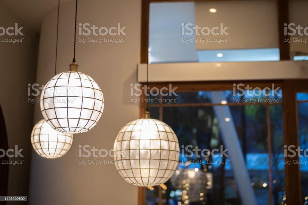 Interior Design Of Lamp A Led Light Bulb Is Illuminating And Hanging Under A House Roof Lighting Lamp Under The Ceiling Interior Design Of Vintage Paper Lamp Stock Photo Download Image