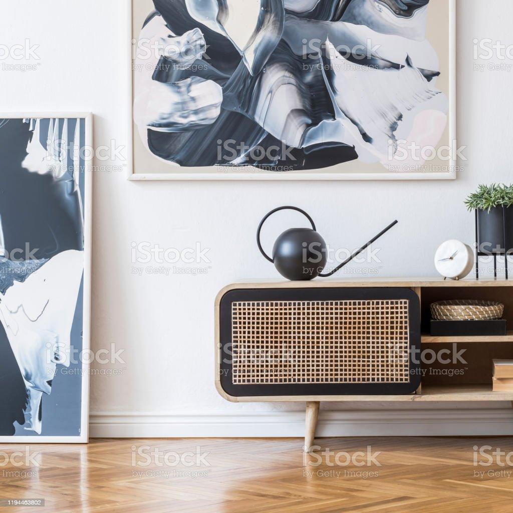 Innenarchitektur Des Wohnzimmers In Schönen Skandinavischen ...