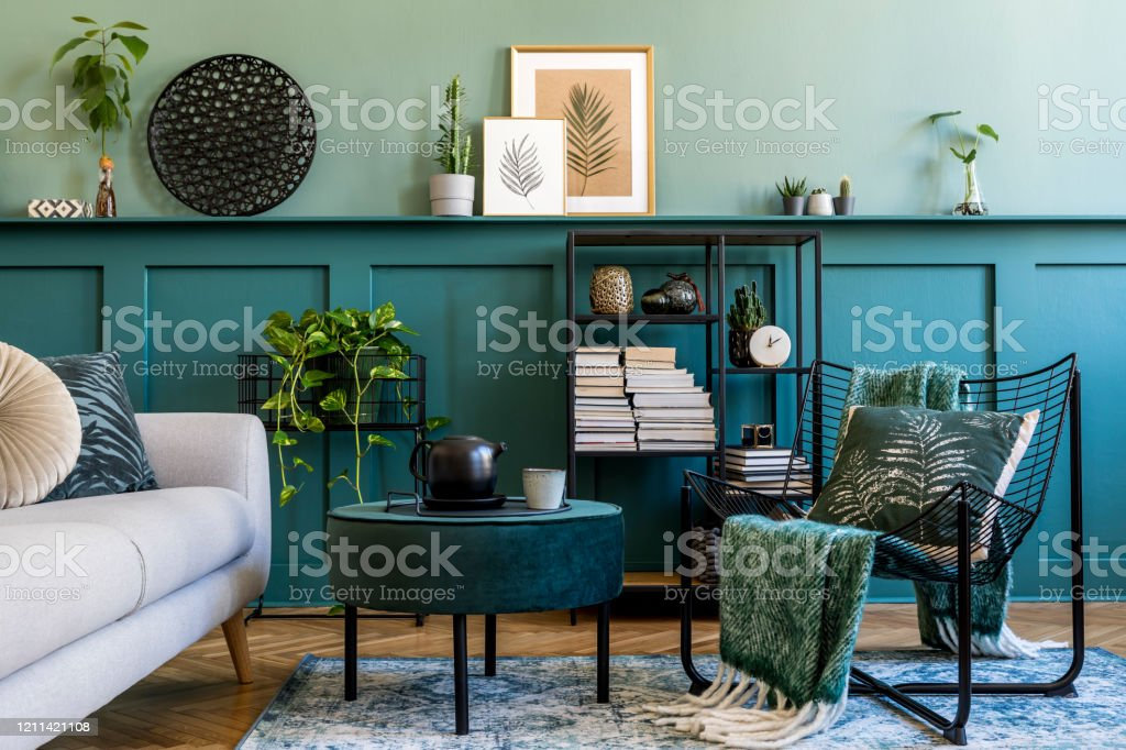 Interior Design Of Living Room With Design Armchair Velur Pouf Gray Sofa Shelf Decoration And Elegant Personal Accessories Wood Panelling Modern Home Decor Mock Up Poster Frames Template Stock Photo Download