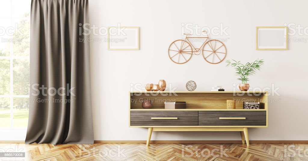 Interior design of living room with wooden sideboard 3d rendering