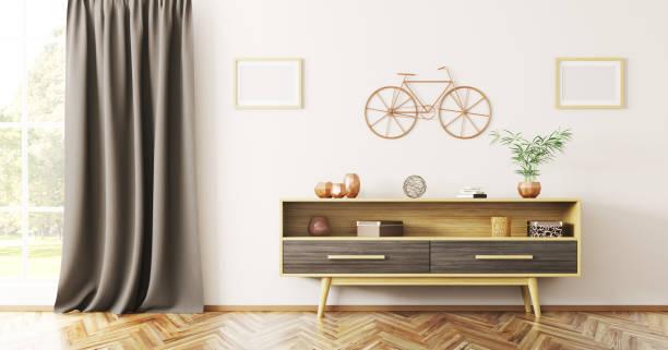 inneneinrichtung des wohnzimmers mit anrichte aus holz 3d-rendering - sideboard skandinavisch stock-fotos und bilder