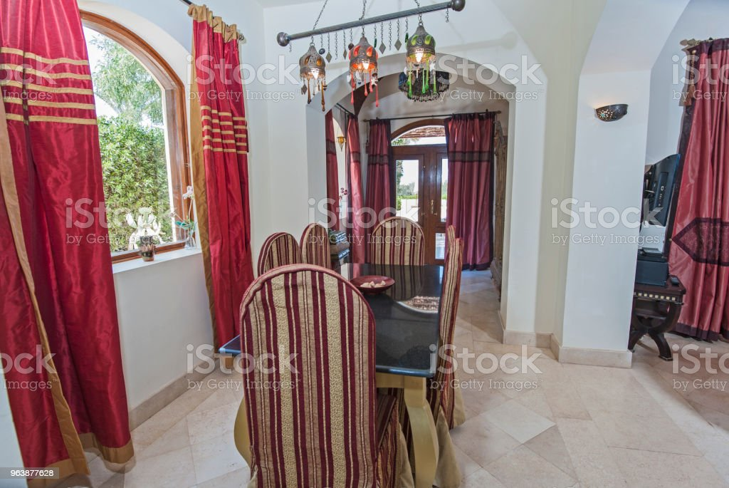 Interior design of luxury apartment living room with dining table - Royalty-free Apartment Stock Photo