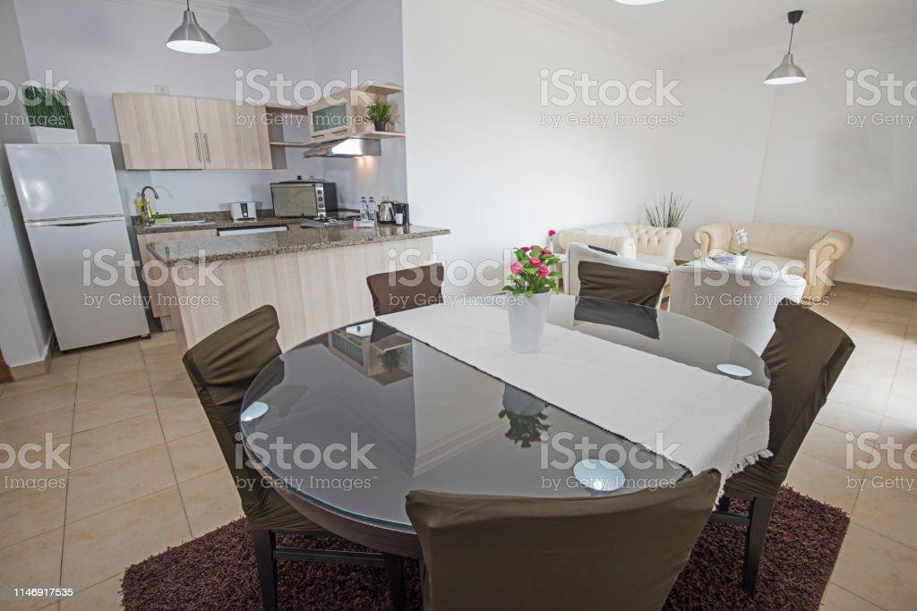 Interior Design Of Luxury Apartment Open Plan Kitchen Stock Photo Download Image Now Istock
