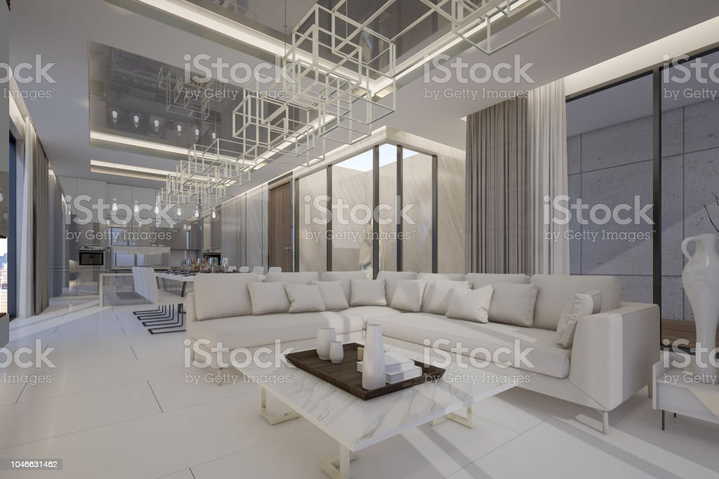 Interior Design Of Luxury Penthouse In High Rise Condominium 3d Rendering Stock Photo Download Image Now Istock