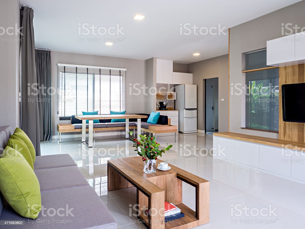 Interior Design Of Modern Living And Dining Room With Sofa